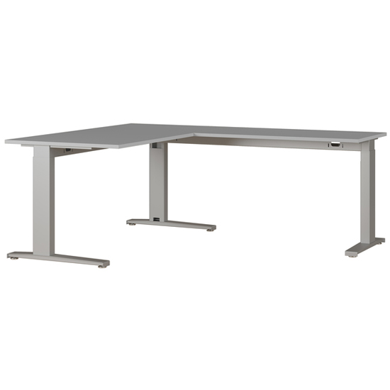 Agenda Angled Laptop Desk In Light Grey And Silver