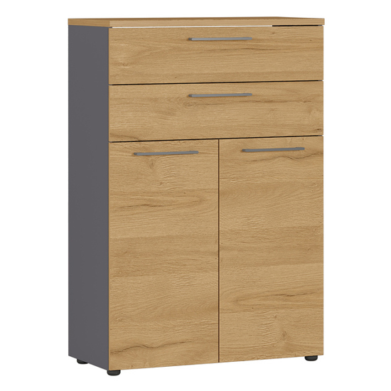 Agenda Filing Cabinet In Graphite And Grandson Oak With 2 Drawer