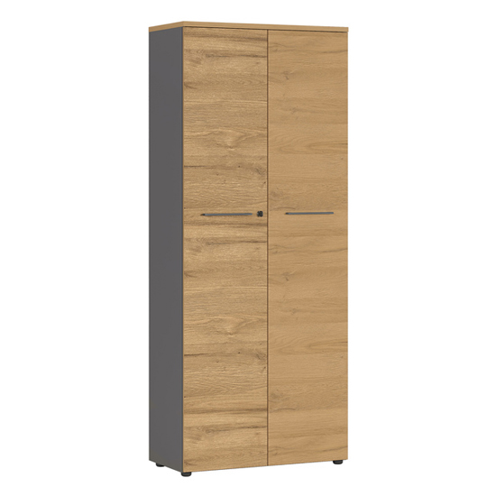 Agenda Tall Filing Cabinet In Graphite And Grandson Oak