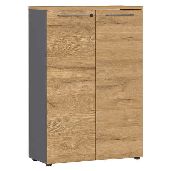 Agenda Wide Filing Cabinet In Graphite And Grandson Oak