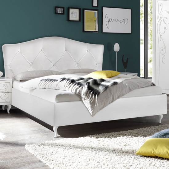 Agio Fabric Upholstered King Size Bed In White