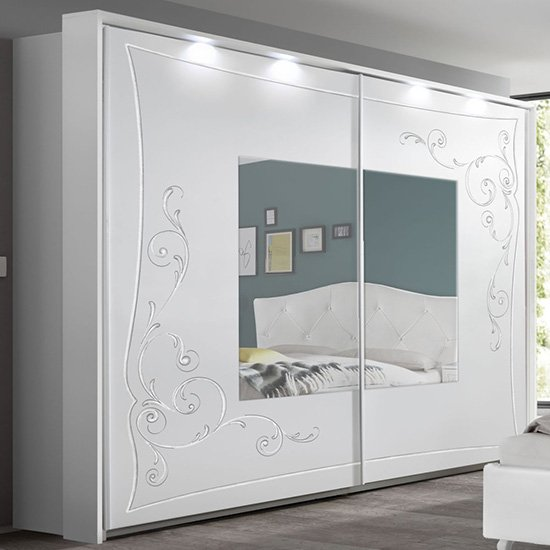 Agio LED Mirroed Wooden Wardrobe In Serigraphed White