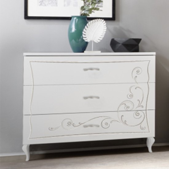 Agio Wooden Chest Of Drawers In Serigraphed White