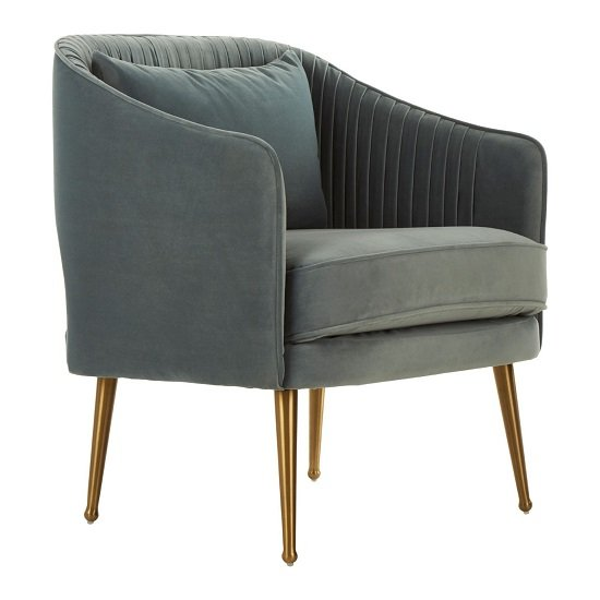 Agnetas Velvet Armchair In Blue With Gold Stainless Steel Legs_2