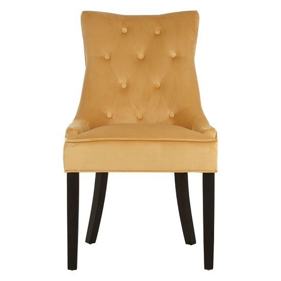 Agnewon Velvet Dining Chair In Gold With Rubberwood Legs_2