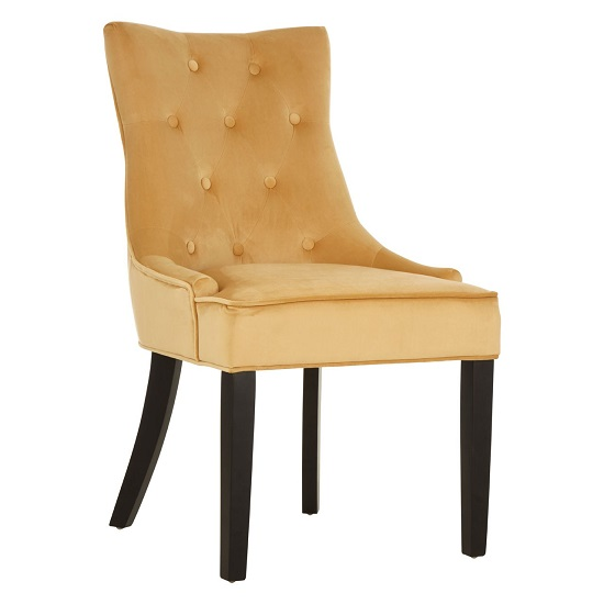 Agnew Velvet Dining Chair In Gold With Rubberwood Legs