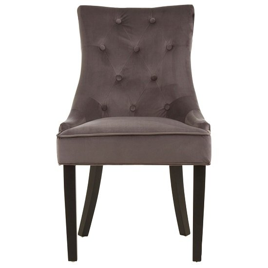 Agnew Velvet Dining Chair In Grey With Rubberwood Legs_2