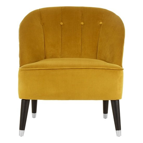 Agoront Velvet Upholstered Lounge Chair In Yellow Finish_1