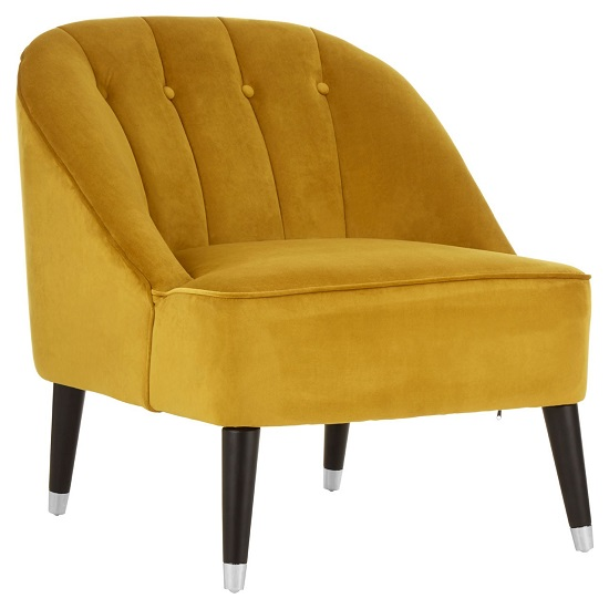 Agoront Velvet Upholstered Lounge Chair In Yellow Finish_2