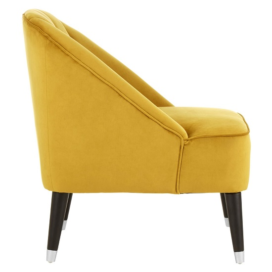 Agoront Velvet Upholstered Lounge Chair In Yellow Finish_3