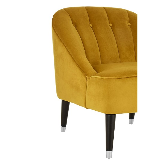 Agoront Velvet Upholstered Lounge Chair In Yellow Finish_5