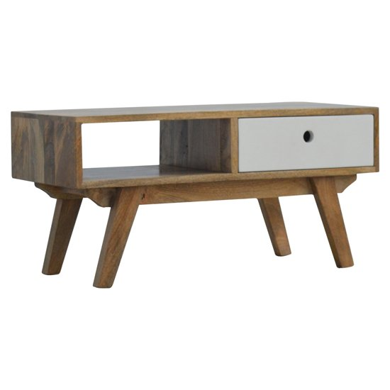 Agoura Wooden TV Stand In Oak Ish And White With Open Slot