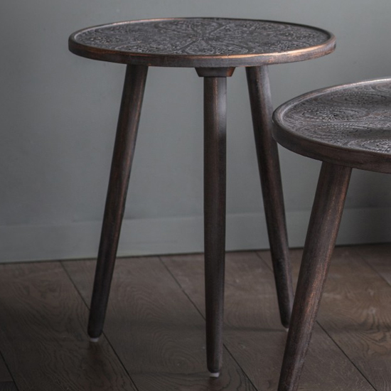 Agra Wooden Side Table In Grey Copper