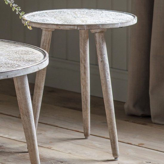 View Agra wooden side table in natural white