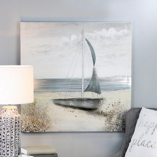 Aground Canvas Oil Painting In Wooden Frame With Aluminium Trim