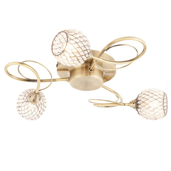 Aherne 3 Ceiling Lamp In Antique Brass