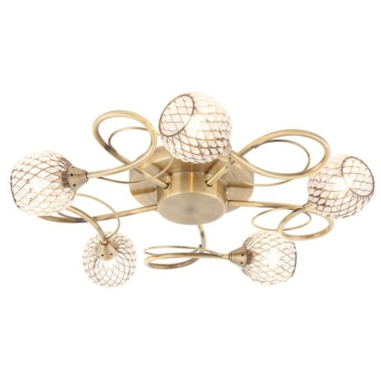 Aherne 5 Ceiling Lamp In Antique Brass