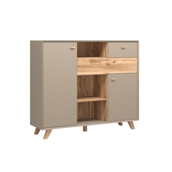 Aiden Wooden Chest Of Drawers In Stone Grey And Navarra Oak