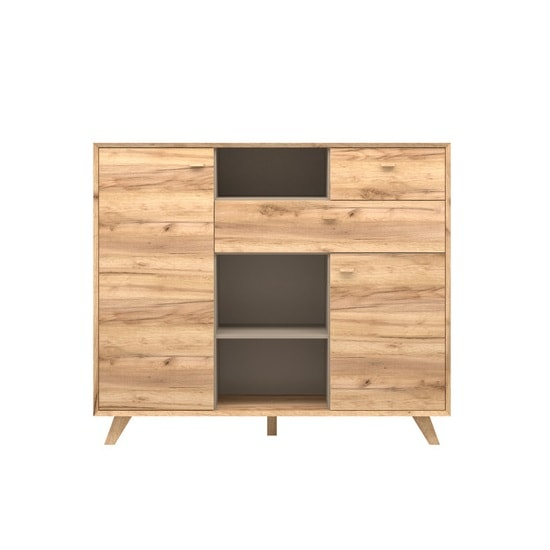 Aiden Wooden Chest Of Drawers In Navarra Oak And Stone Grey_2