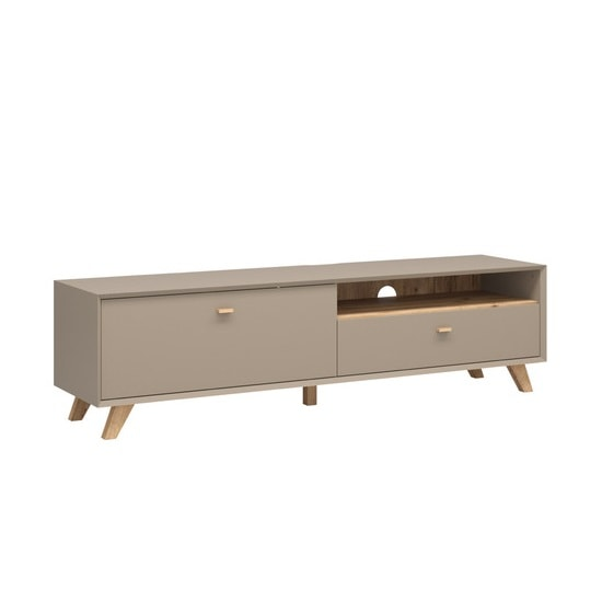 Aiden Wooden TV Stand Large In Stone Grey And Navarra Oak