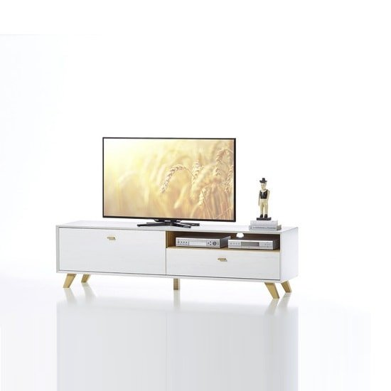 Aiden Wooden TV Stand Large In Pine White And Navarra Oak