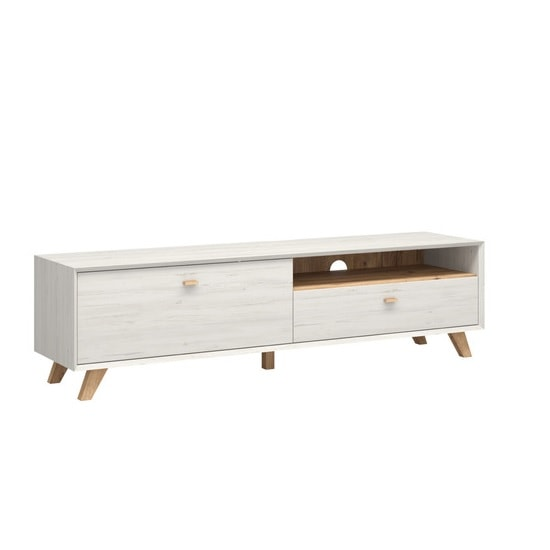 Aiden Wooden TV Stand Large In Pine White And Navarra Oak_2
