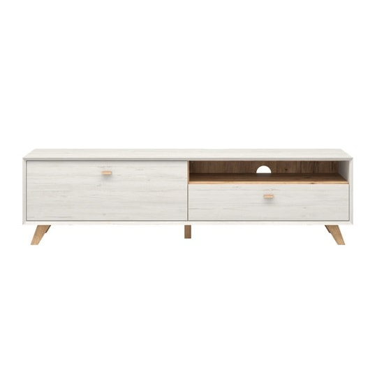 Aiden Wooden TV Stand Large In Pine White And Navarra Oak_4