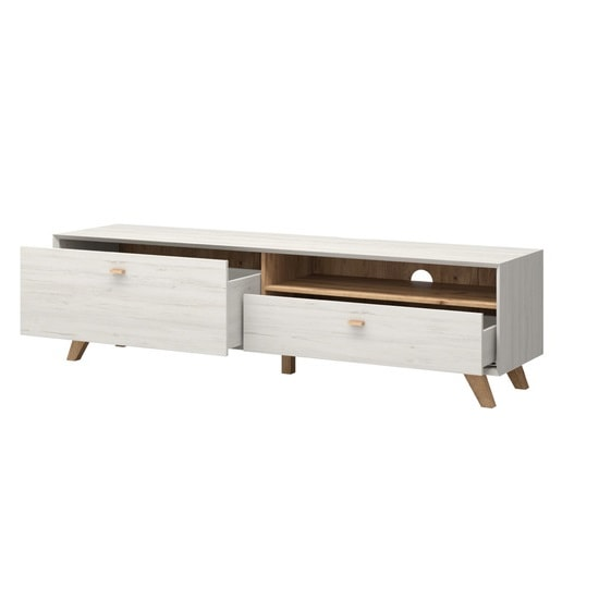 Aiden Wooden TV Stand Large In Pine White And Navarra Oak_3