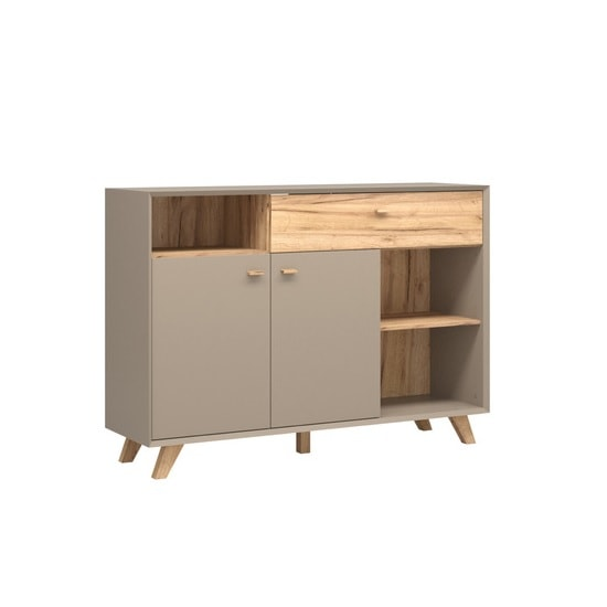 Aiden Modern Sideboard In Stone Grey And Navarra Oak