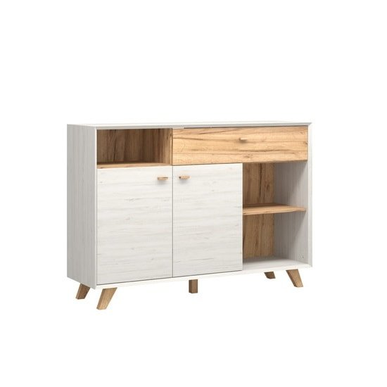 Aiden Modern Sideboard In Pine White And Navarra Oak