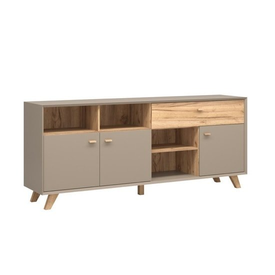 Aiden Wooden Sideboard In Stone Grey And Navarra Oak