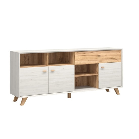 Aiden Wooden Sideboard In White Pine And Navarra Oak