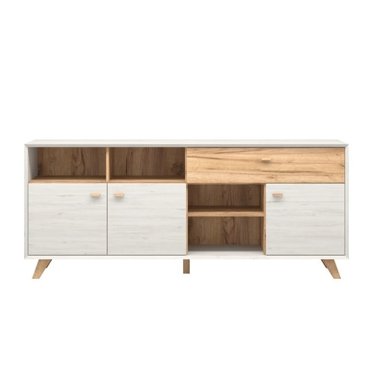 Aiden Wooden Sideboard In White Pine And Navarra Oak_2