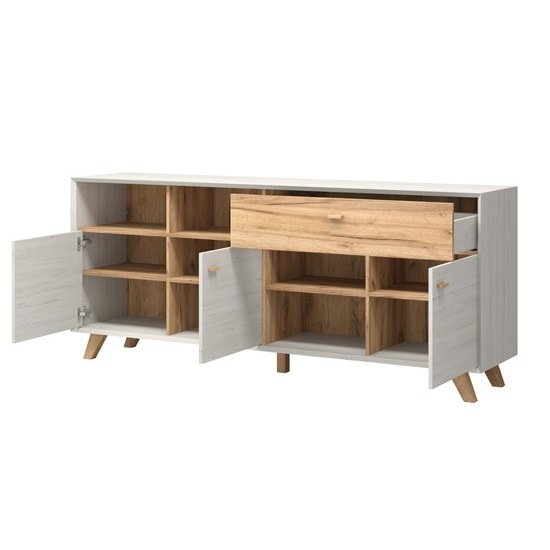 Aiden Wooden Sideboard In White Pine And Navarra Oak_3