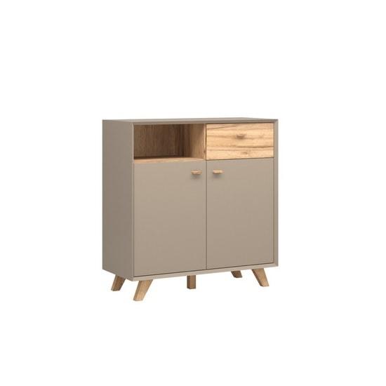 Aiden Wooden Storage Cabinet In Stone Grey And Navarra Oak