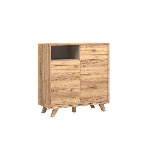 Aiden Wooden Storage Cabinet In Navarra Oak And Stone Grey