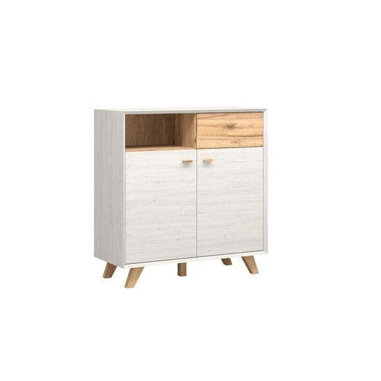 Aiden Wooden Storage Cabinet In Pine White And Navarra Oak
