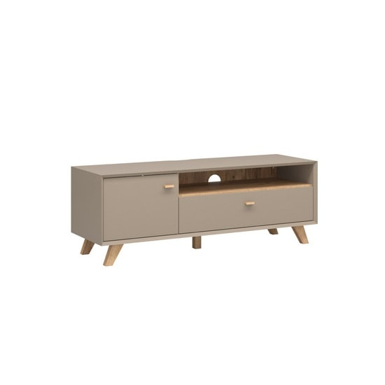 Aiden Wooden TV Stand In Stone Grey And Navarra Oak