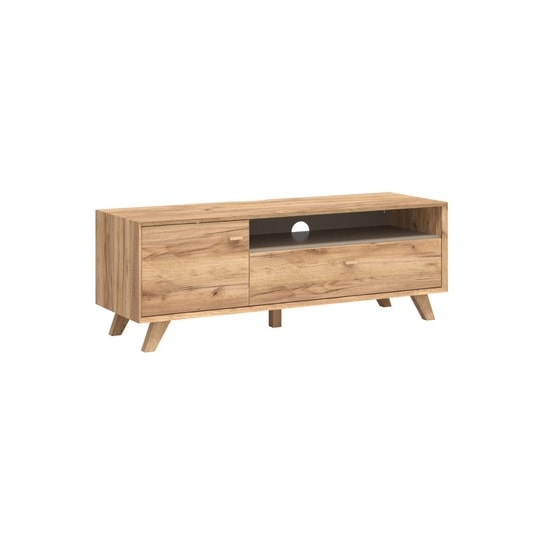 Aiden Wooden TV Stand In Navarra Oak And Stone Grey