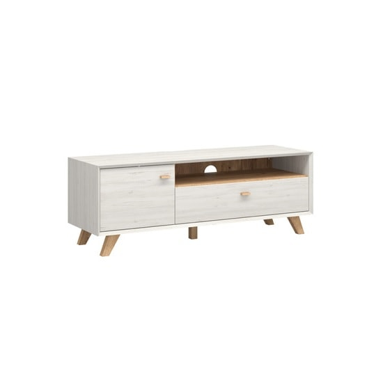 Aiden Wooden TV Stand In Pine White And Navarra Oak
