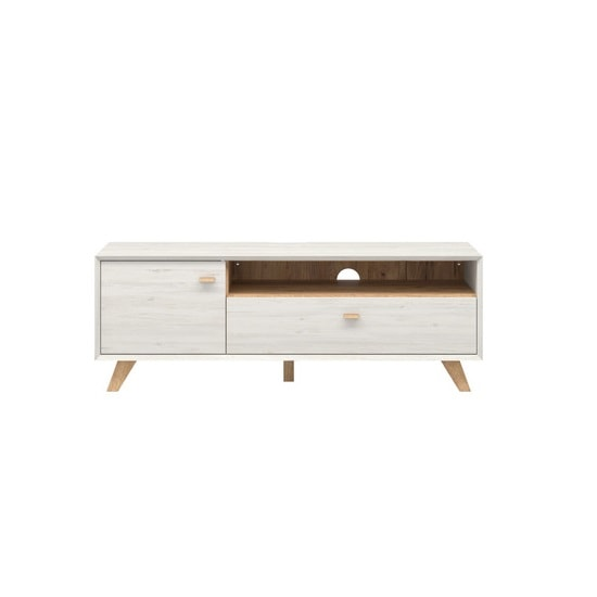 Aiden Wooden TV Stand In Pine White And Navarra Oak_2