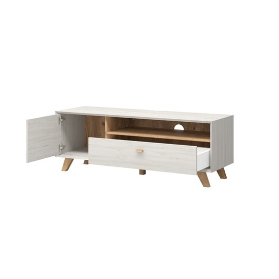 Aiden Wooden TV Stand In Pine White And Navarra Oak_3