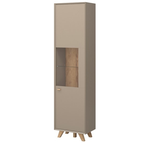 Aiden Wooden Display Cabinet In Stone Grey And Navarra Oak