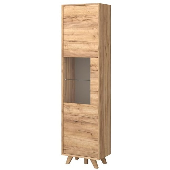 Aiden Wooden Display Cabinet In Navarra Oak And Stone Grey