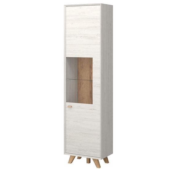Aiden Wooden Display Cabinet In Pine White And Navarra Oak