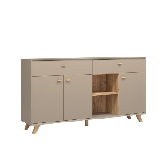 Aiden Contemporary Sideboard In Stone Grey And Navarra Oak