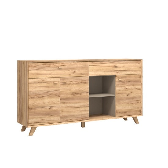 Aiden Contemporary Sideboard In Navarra Oak And Stone Grey