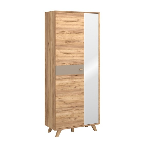 Aiden Mirrored Wardrobe Wide In Navarra Oak And Stone Grey