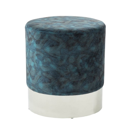 Aix Stool In Peacock Blue Velvet And Polished Stainless Steel