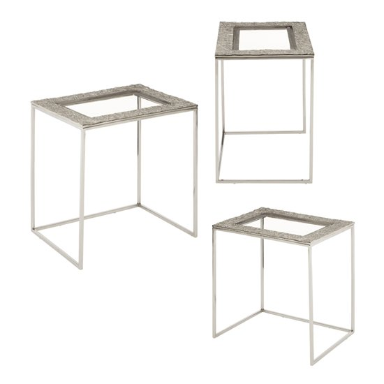Akela Glass Top Set Of 3 Rectangular Side Tables In Silver